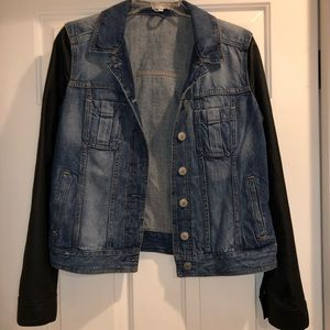 Jean with leather sleeve jacket